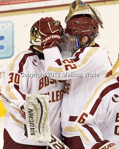 Chris Venti (BC - 30), Paul Carey (BC - 22) - The Boston College Eagles defeated the Providence College Friars 7-0 on Saturday, February 25, 2012, at Kelley Rink at Conte Forum in Chestnut Hill, Massachusetts.