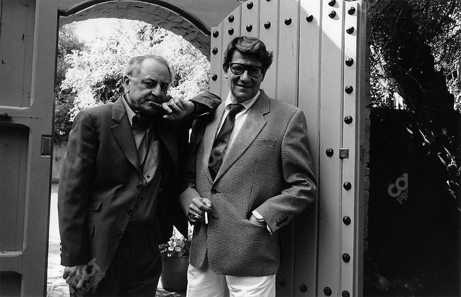 Yves Saint Laurent with his partner Pierre Bergé (left), at his home in Marrakech, Morocco, 1992