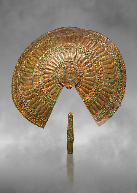 Ornamental Etruscan fans excavated from the Tomb of the Fans in Flabelli (Tomba dei Flabelli), late 7th - early 6th century B.C,   National Archaeological Museum Florence, Italy , grey art background