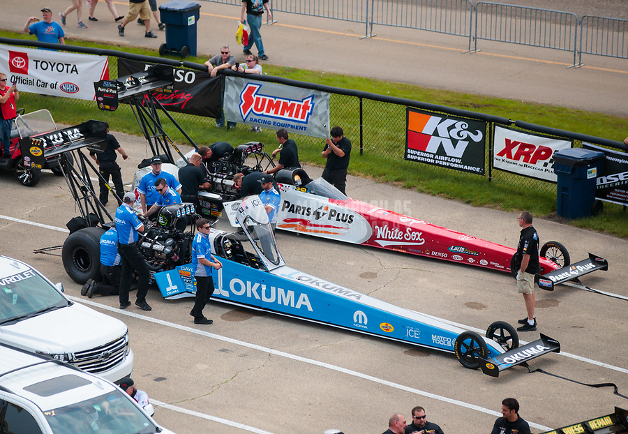May 31, 2019; Joliet, IL, USA; NHRA top fuel driver Leah Pritchett (near) and Clay Millican during qualifying for the Route 66 Nationals at Route 66 Raceway. Mandatory Credit: Mark J. Rebilas-USA TODAY Sports