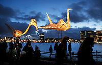 Nederland Amsterdam 2017-01-14 . Amsterdam Light Festival. The Speed of Light Parade. De grote lichtjesparade van Pretvormer in Amsterdam Noord.  Foto Berlinda van Dam / Hollandse Hoogte