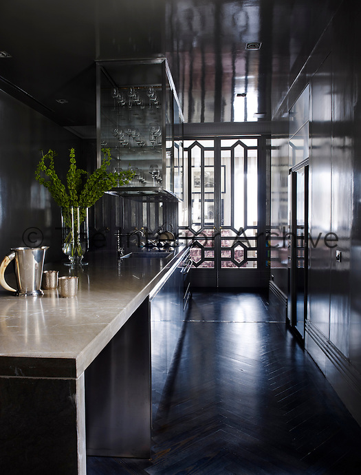The contemporary kitchen of the apartment, its walls lined with floor-to-ceiling cupboards, their reflective surfaces broadening the narrow space