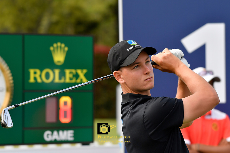 Dylan Perry (Australia) in action during the Asia- Pacific Amateur Championship at Royal Wellington Golf Club, Wellington, New Zealand on Sunday 29 October.<br /> Photo by Masanori Udagawa. <br /> www.photowellington.photoshelter.com