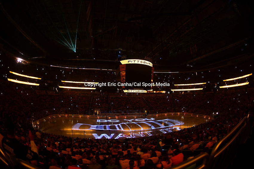 May 29, 2017: Fans are entertained with a light show before the start of game one of the National Hockey League Stanley Cup Finals between the Nashville Predators  and the Pittsburgh Penguins, held at PPG Paints Arena, in Pittsburgh, PA. Pittsburgh defeats Nashville 5-3 in regulation time.  Eric Canha/CSM