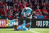 Gabriel Jesus of Manchester City in pain after a challenge by Steve Cook of AFC Bournemouth during the Premier League match between Bournemouth and Man City at the Goldsands Stadium, Bournemouth, England on 26 August 2017. Photo by Andy Rowland.