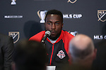 08 December 2016: Toronto's Jozy Altidore. Major League Soccer held a press conference with Toronto FC and Seattle Sounders FC at the Kia Training Ground in Toronto, Ontario in Canada two days before MLS Cup 2016.
