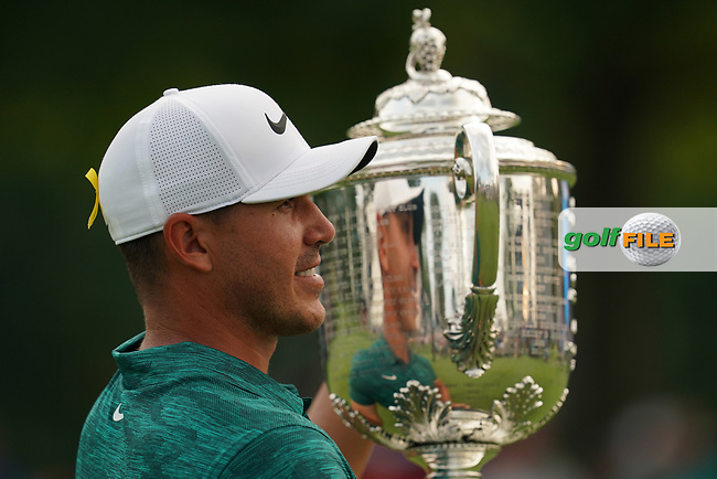 Brooks Koepka(USA) celebrates winning the 100th PGA Championship at Bellerive Country Club, St. Louis, Missouri.<br /> Picture Tom Russo / Golffile.ie<br /> <br /> All photo usage must carry mandatory copyright credit (© Golffile   Tom Russo)
