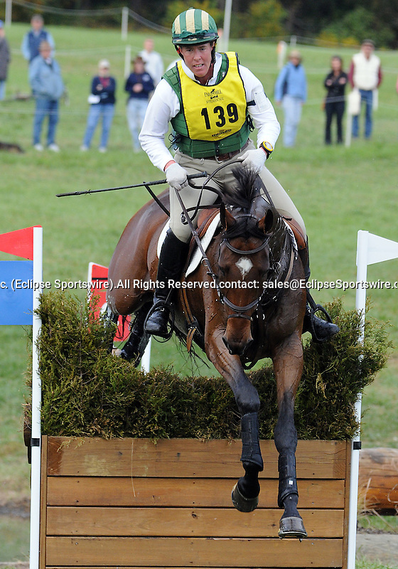 18 October 2008:  Amy Tryon and Leyland moved from 6th to 3rd-place after the cross country section of the Fair Hill International CCI*** Championship at Fair Hill Equestrian Center in Fair Hill, Maryland.  Cross country is the second stage of the three-day event.