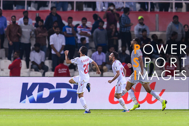 Jamal Rashed Abdulrahman of Bahrain (C) celebrates scoring the team's only goal with teammates during the AFC Asian Cup UAE 2019 Group A match between India (IND) and Bahrain (BHR) at Sharjah Stadium on 14 January 2019 in Sharjah, United Arab Emirates. Photo by Marcio Rodrigo Machado / Power Sport Images