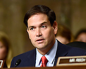 United States Senator Marco Rubio (Republican of Florida), a candidate for the Republican nomination to be President of the United States and a member of the US Senate Committee on Foreign Relations, questions US Secretary of State John F. Kerry during the hearing to examine and review the Iran nuclear agreement on Capitol Hill in Washington, DC on Thursday, July 23, 2015.<br /> Credit: Ron Sachs / CNP