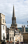 View of Georgian buildings and church spires, Broad Street, Bath, England