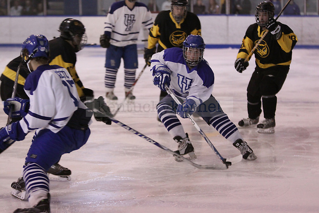 Forward Dylan Rohar handles the puck in the game against Kennesaw State at Lexington Ice Center on Friday, Oct. 30, 2009. The Cool Cats won 10-2. Photo by Scott Hannigan | Staff