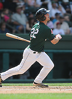 Outfielder Lucas LeBlanc (22) of the Greenville Drive, Class A affiliate of the Boston Red Sox, in a game against the Charleston RiverDogs on May 15, 2011, at Fluor Field at the West End in Greenville, S.C. Photo by Tom Priddy / Four Seam Images