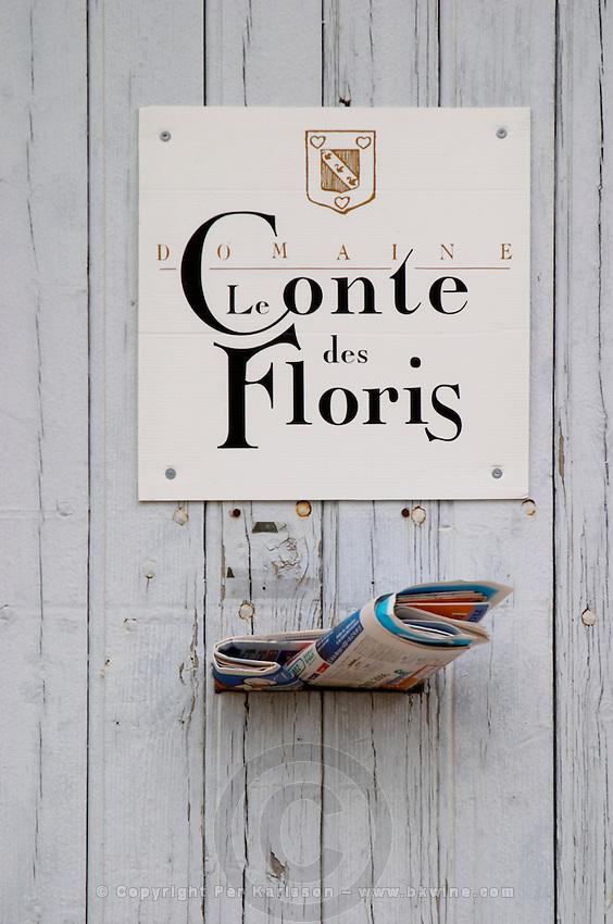 Domaine Le Conte des Floris, Caux. Pezenas region. Languedoc. A door. France. Europe. Letters in the letter box.