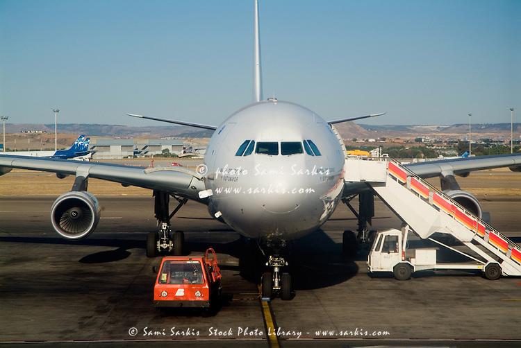 Aeroplane on the tarmac at Madrid-Barajas Airport, Madrid, Spain.