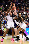 COLUMBUS, OH - APRIL 1: Jessica Shepard #23 of the Notre Dame Fighting Irish grabs a rebound from Teaira McCowan #15 of the Mississippi State Bulldogs during the championship game of the 2018 NCAA Division I Women's Basketball Final Four at Nationwide Arena in Columbus, Ohio. (Photo by Justin Tafoya/NCAA Photos via Getty Images)