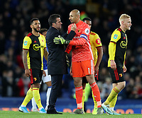 29th October 2019; Goodison Park, Liverpool, Merseyside, England; English Football League Cup, Carabao Cup Football, Everton versus Watford; Everton Manager Marco Silva shakes hands with Watford goalkeeper Heurelho Gomes after the match ends with  2-0 for Everton - Strictly Editorial Use Only. No use with unauthorized audio, video, data, fixture lists, club/league logos or 'live' services. Online in-match use limited to 120 images, no video emulation. No use in betting, games or single club/league/player publications