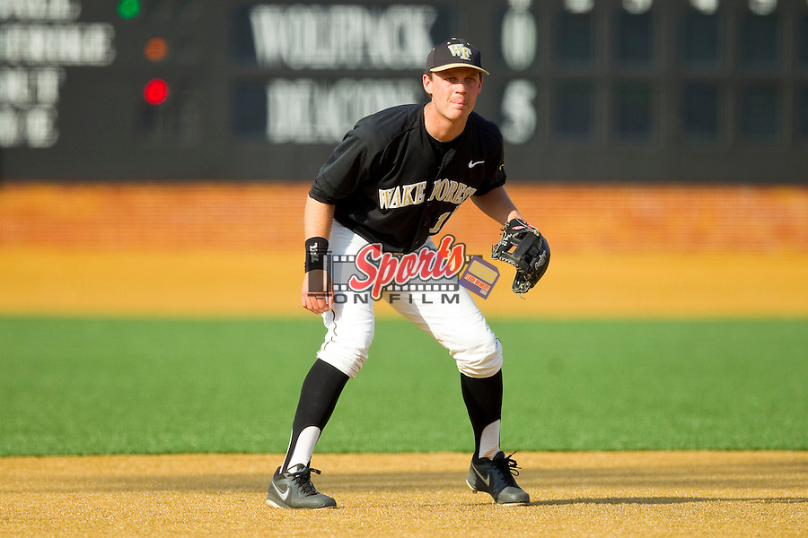 Wake Forest Demon Deacons third baseman Joe Napolitano (12) on defense against the North Carolina State Wolfpack at Wake Forest Baseball Park on March 16, 2013 in Winston-Salem, North Carolina.  The Demon Deacons defeated the Wolfpack 13-4.  (Brian Westerholt/Sports On Film)