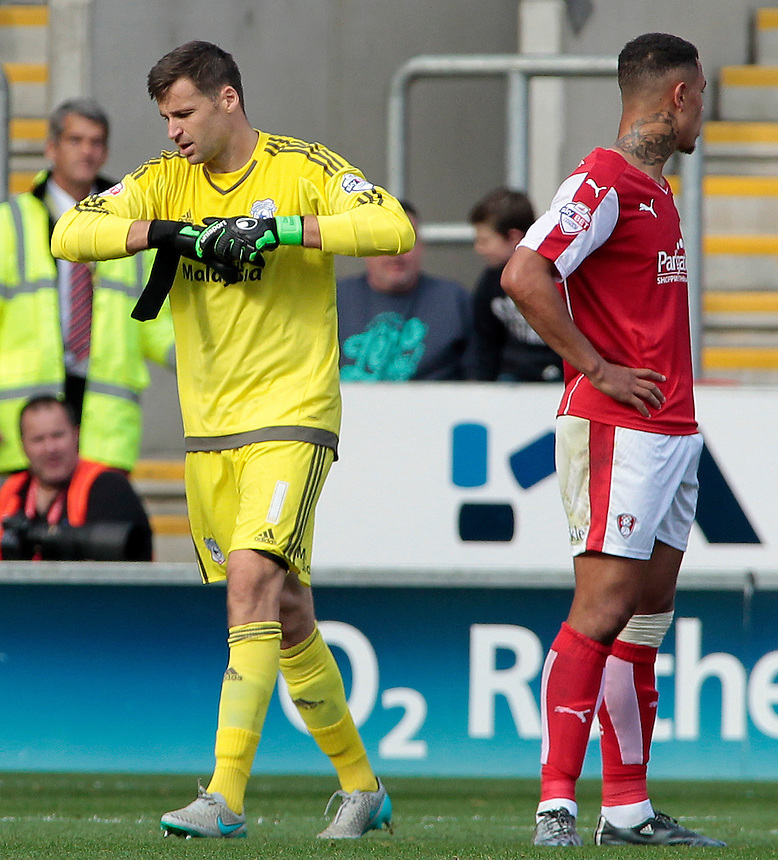 Cardiff City's David Marshall trudges off after being shown a red card by Referee Keith Hill<br /> <br /> Photographer David Shipman/CameraSport<br /> <br /> Football - The Football League Sky Bet Championship - Rotherham United v Cardiff City - Saturday 19th September 2015 - AESSEAL New York Stadium - Rotherham<br /> <br /> &copy; CameraSport - 43 Linden Ave. Countesthorpe. Leicester. England. LE8 5PG - Tel: +44 (0) 116 277 4147 - admin@camerasport.com - www.camerasport.com