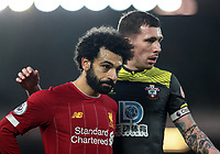 1st February 2020; Anfield, Liverpool, Merseyside, England; English Premier League Football, Liverpool versus Southampton; Mohammed Salah of Liverpool is closely marked by Pierre-Emile Hojbjerg of Southampton