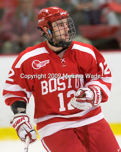 Chris Connolly (BU - 12) - The Boston University Terriers defeated the Harvard University Crimson 6-5 in overtime on Tuesday, November 24, 2009, at Bright Hockey Center in Cambridge, Massachusetts.