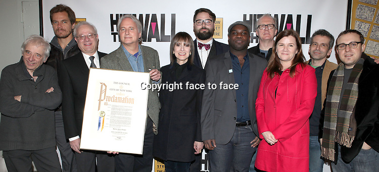 "Austin Pendleton, Michael Shannon, Tom Wirtshafter, Scott Morfee, Jean Doumanian, Eric Hoff, Ike Holter, Tracy Lette, Mare Winningham, David Cromer and Josh Schmidt attending the New York Premiere of the Opening Night Performance of ""Hit The Wall"" at the Barrow Street Theatre in New York City on 3/10/2013...Credit: McBride/face to face"