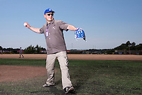 24 May 2009: President of the French Federation of Baseball Denis-Didier Rousseau throws the first pitch prior to the final game during the 2009 challenge de France, a tournament with the best French baseball teams - all eight elite league clubs - to determine a spot in the European Cup next year, at Montpellier, France. Rouen wins 7-5 over Savigny.