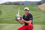 Frenchman Gregory Bourdy celebrates with the trophy after winning the ISPS Handa Wales Open 2013 at the Celtic Manor Resort.<br /> <br /> 01.09.13<br /> <br /> &copy;Steve Pope-Sportingwales