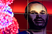5th December 2017, Camp Nou, Barcelona, Spain; UEFA Champions League football, FC Barcelona versus Sporting Lisbon; Andres Iniesta of FC Barcelona banner with a Christmas tree