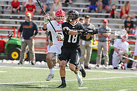 College Park, MD - May 14, 2017: Bryant Bulldogs Tom Forsberg (18) attempts a shot during the NCAA first round game between Bryant and Maryland at  Capital One Field at Maryland Stadium in College Park, MD.  (Photo by Elliott Brown/Media Images International)