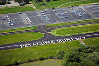 aerial photograph of unicom frequency runway markings, Petaluma Municipal Airport, Petaluma, Sonoma County, California