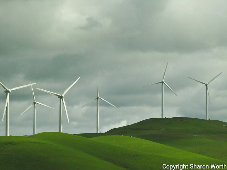 Giant windmills rise from the fields east of Mount Diablo.