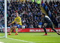 Leeds United's Patrick Bamford sees his shot hit the post and bounce to Birmingham City's Lee Camp<br /> <br /> Photographer Mick Walker/CameraSport<br /> <br /> The EFL Sky Bet Championship - Birmingham City v Leeds United - Saturday 6th April 2019 - St Andrew's - Birmingham<br /> <br /> World Copyright © 2019 CameraSport. All rights reserved. 43 Linden Ave. Countesthorpe. Leicester. England. LE8 5PG - Tel: +44 (0) 116 277 4147 - admin@camerasport.com - www.camerasport.com