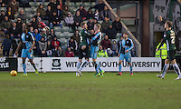 Ryan Brunt of Plymouth Argyle expresses his disagreement with Jason McCarthy of Wycombe Wanderers during the Sky Bet League 2 match between Plymouth Argyle and Wycombe Wanderers at Home Park, Plymouth, England on 30 January 2016. Photo by Mark  Hawkins / PRiME Media Images.