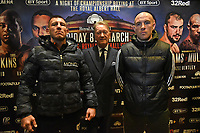Liam Williams (L), Frank Warren and Joe Mullender during a Press Conference at The Gore Hotel on 6th March 2019