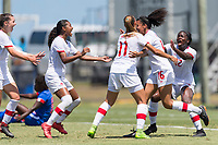 Bradenton, FL - Sunday, June 12, 2018: Andersen Williams, goal celebration prior to a U-17 Women's Championship 3rd place match between Canada and Haiti at IMG Academy. Canada defeated Haiti 2-1.