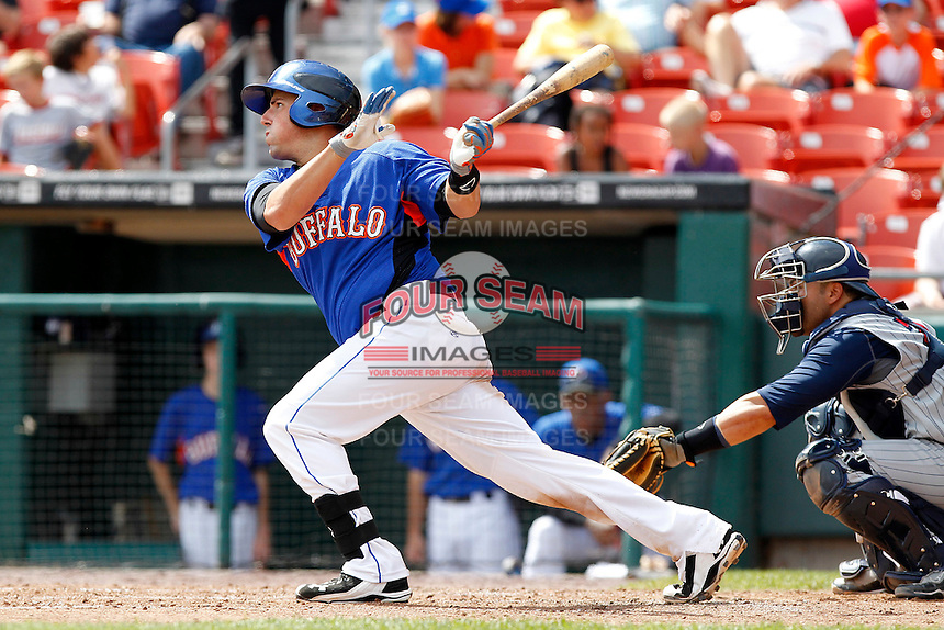 Buffalo Bisons infielder Zach Lutz #3 during a game against the Toledo Mudhens at Coca-Cola Field on August 17, 2011 in Buffalo, New York.  Buffalo defeated Toledo 4-2.  (Mike Janes/Four Seam Images)
