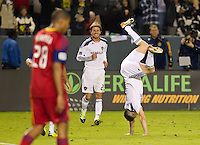 CARSON, CA - November 6, 2011: LA Galaxy forward Robbie Keane celebrating his goal during the match between LA Galaxy and Real Salt Lake at the Home Depot Center in Carson, California. Final score LA Galaxy 3, Real Salt Lake 1.