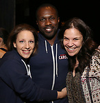 Jessie Mueller, Joshua Henry and Lindsay Mendez during the Actors' Equity Broadway Opening Night Gypsy Robe Ceremony honoring Jess LeProtto for 'Carousel' at the Imperial Theatre on April 12, 2018 in New York City.
