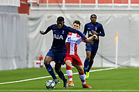 6th November 2019; Vozdovac Stadium, Belgrade, Serbia; UEFA Under 19 UEFA Youth league football, FK Crvena Zvezda under 19s versus Tottenham Hotspur under 19s; Timothy Eyoma of Tottenham Hotspurs FC holds off the defender