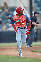 Yasel Antuna (5) of the Hagerstown Suns hustles down the first base line against the Kannapolis Intimidators at Kannapolis Intimidators Stadium on May 6, 2018 in Kannapolis, North Carolina. The Intimidators defeated the Suns 4-3. (Brian Westerholt/Four Seam Images)