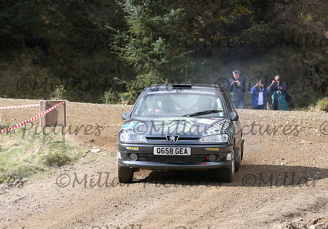 Raymond Kennedy / David Murray in the Peugeot 306 GTi at Junction 3 on John Lawrie Group Special Stage 5 Fettersso 2 of the Coltel Granite City Rally 2012 which was based at the Thainstone Agricultural Centre, Inverurie.