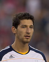 Los Angeles Galaxy defender Omar Gonzalez (4). In a Major League Soccer (MLS) match, the Los Angeles Galaxy defeated the New England Revolution, 1-0, at Gillette Stadium on May 28, 2011.