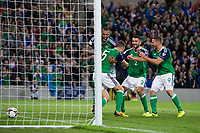 Northern Ireland's Jonny Evans celebrates scoring his sides first goal with team mates     <br /> <br /> <br /> Photographer Craig Mercer/CameraSport<br /> <br /> FIFA World Cup Qualifying - European Region - Group C - Northern Ireland v Czech Republic - Monday 4th September 2017 - Windsor Park - Belfast<br /> <br /> World Copyright &copy; 2017 CameraSport. All rights reserved. 43 Linden Ave. Countesthorpe. Leicester. England. LE8 5PG - Tel: +44 (0) 116 277 4147 - admin@camerasport.com - www.camerasport.com