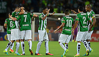 MEDELLIN - COLOMBIA - 07-08-2016: Los jugadores de Atletico Nacional celebran el gol anotado a Once Caldas, durante partido entre Atletico Nacional y Once Caldas, por la fecha 7 de la Liga Águila II 2016 jugado en el estadio Atanasio Girardot de la ciudad de Medellin. / The players of Atletico Nacional, celebrate a goal scored to Once Caldas, during a match between Atletico Nacional and Once Caldas, for the date 7 of the Aguila League II 2016 played at Atanasio Girardot stadium in Medellin city. Photo: VizzorImage / León Monsalve /Cont.