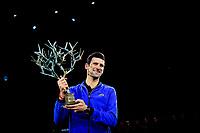 3rd November 2019, AccorHotels Arena, Bercy, Paris, France; Rolex Paris masters Tennis tournament, finals day;  Novak Djokovic (Srb) winner of the mens singles final with his trophy
