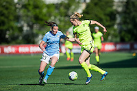 Seattle, WA - Sunday, April 17, 2016: Seattle Reign FC forward Beverly Yanez (17) works to maintain possession during the first half at Memorial Stadium. Sky Blue FC defeated the Seattle Reign FC 2-1during a National Women's Soccer League (NWSL) match at Memorial Stadium.