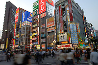 Signs line buildings on Yasakuni-dori in the shinjuku district of Tokyo, Japan. It is full of entertainment and shopping areas. Department store, electronics, restaurants and bars can be found most in this area..27 Jul 2006