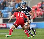 Michael Paterson of Sale Sharks looks to Ian Neatly of Munster - European Rugby Champions Cup - Sale Sharks vs Munster -  AJ Bell Stadium - Salford- England - 18th October 2014  - Picture Simon Bellis/Sportimage