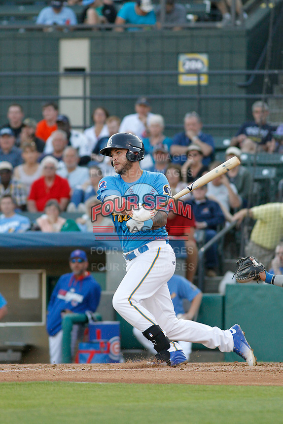 Myrtle Beach Pelicans catcher Tyler Alamo (13) at bat during a game against the Wilmington Blue Rocks at Ticketreturn Field at Pelicans Ballpark on April 26, 2017 in Myrtle Beach, South Carolina. Myrtle Beach defeated Wilmington 7-3. (Robert Gurganus/Four Seam Images)